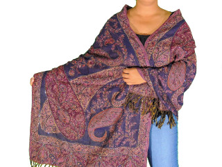 "Purple Indigo Beaded Kashmir Shawl - Ladies Wool Evening Dress Scarf 80"""