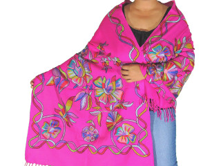 Magenta Floral Embroidered Designer Shawl - Women's Wool Dress Scarf 80""