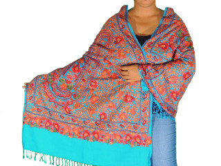 Aruba Blue Kashmir Embroidered Shawl - Women's Wool Stylish Scarf 80""
