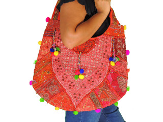 Red Sari Handbag with Bead Sequin Embroidery Work - Ladies Fashion Accessory
