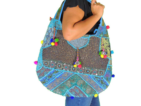 Blue Sari Handbag with Bead Sequin Embroidery Work - Ladies Fashion Accessory