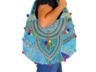 Hobo Bag in Blue - Sari Beaded Embroidered Patchwork Exclusive Handbag
