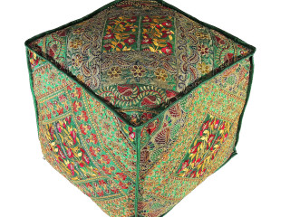 """Green Embroidered Floor Pouf Cover - Traditional Indian Living Room Ottoman 18"""""""