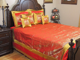 Red Gold Peacock Pair India Inspired Bedding -Decorative Duvet King Bedspread Set