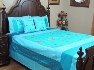 Blue Surya Luxury Indian Bedding - 5P Gold Embroidery Ensemble ~ Queen