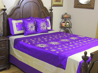 Purple Surya Luxury Indian Bedding - 5P Gold Embroidery Ensemble ~ Queen
