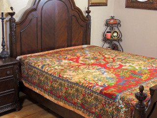 """Tree of Life Reversible Duvet Cover - Cotton Brown Yellow Bedding ~ Full 84"""" x 80"""""""