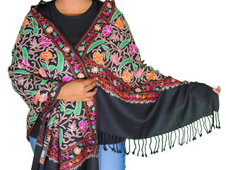 Black Floral Designer Kashmir Shawl - Women's Embroidered Wool Dress Scarf 80""