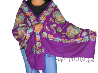 Purple Floral Designer Kashmir Shawl - Ladies Embroidered Wool Dress Scarf 80""