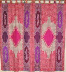 Purple Pink Crimson Paisley Curtains Window Treatments - 2 Woven Jamawar Panels 84""