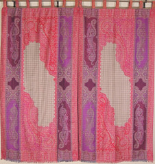 Purple Crimson Beige Paisley Woven Curtains - 2 Jamawar Window Panels 84""