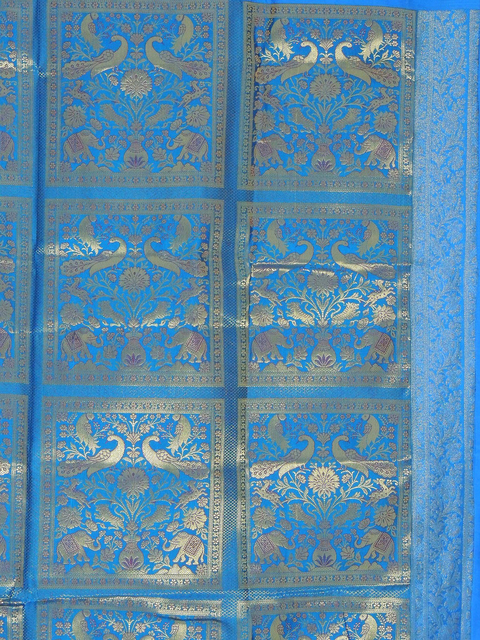 Blue Peacock Brocade Curtain Panel Stylish Lined Indian Window Treatments 82 Novahaat