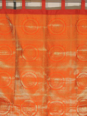 Orange Mandala Gold Brocade Curtain - Stylish Lined Indian Window Panel 82""