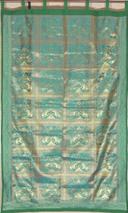 Teal Elephant Pair Brocade Curtain - Stylish Lined Indian Window Panel 82""