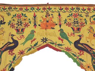 "Yellow Kutch Toran Doorway Topper - Hand Embroidered Vintage Gate Valance 52"" x 41"""