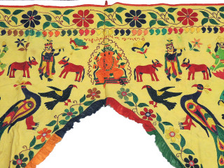 "Yellow Embroidered Ganesha Krishna Toran Doorway Topper - Decorative Vintage Gate Valance 54"" x 42"""