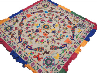 """Ganesha Peacock Ethnic Embroidered Tapestry - Vintage Wall Hanging Kutch Handicraft 76"""" x 74"""""""