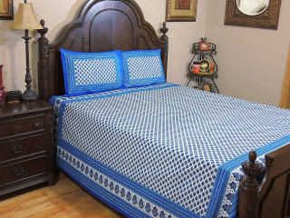 Blue Floral Cotton Bedspread – Ethnic Indian Inspired Sheet Pillowcases Set ~ Queen