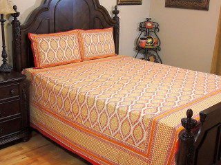 Cream Red Floral Print Bedspread – Indian Cotton Sheet Pillowcases ~ Queen