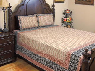 Petite Paisley Print Cotton Bedspread – Wheat Maroon Bed Sheet Pillowcases ~ Queen