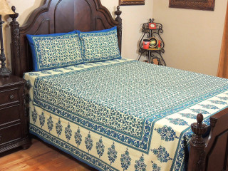 Blue Teal Floral Cotton Bedspread – Ethnic Luxury Bed Sheet Pillowcases ~ Queen