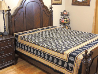 Buff Black Floral Tapestry Bed Sheet - Paisley Border Cotton Bedding Linens ~ Full