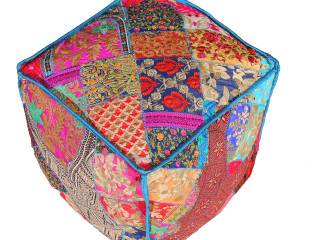 Bohemian Patchwork Footstool Pouf Cover - Kashmir Parsi Embroidery Ethnic Floor Seating 18""