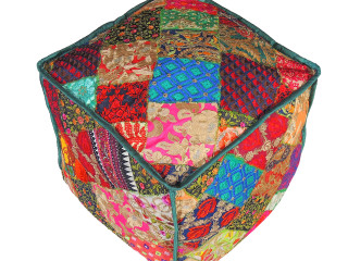 Colorful Kashmiri Parsi Embroidered Pouf Cover - Ethnic Stool Ottoman Floor Seating 18""