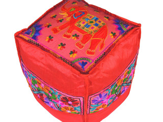 Red Elephant Floral Embroidered Pouf Cover - Indian Inspired Ottoman Floor Seating 16""
