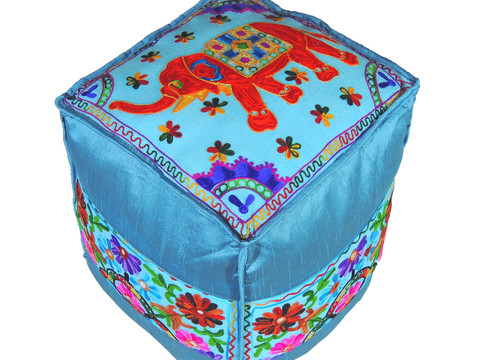 """Blue Elephant Floral Embroidered Pouf Cover - Indian Inspired Ottoman Floor Seating 16"""""""