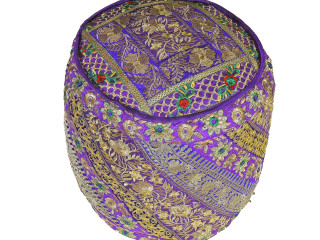 Purple Gold Zari Round Pouf Cover - Traditional Indian Embroidered Floor Seating Ottoman 18""