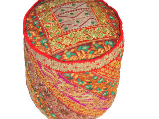 Red Gold Zari Circular Pouf Cover - Traditional Indian Embroidered Floor Seating Ottoman 18""