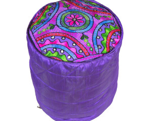 """Purple Floral Embroidery Circular Pouf Cover - Traditional Indian Floor Seating Ottoman 16"""""""