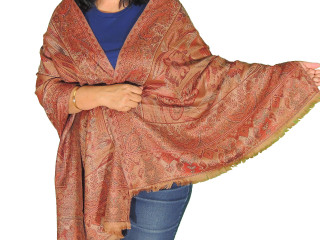 Brown Floral Wool Warm Shawl - Trendy Jamawar Dress Wrap Scarf 78""