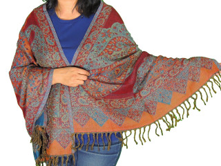 Teal Paisley Jamawar Wool Shawl - Trendy Kashmir Evening Wrap Scarf 78""