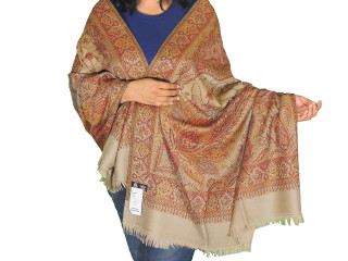 Beige Floral Paisley Embroidered Shawl - Wool Cozy Trendy Evening Wrap Afghan 80""