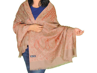 Rust Beige Floral Embroidered Shawl - Jamawar Kashmir Wool Dress Wrap Afghan 80""
