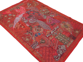 Red Kundan Peacock Indian Tapestry - Sari Handmade Huge Wall Hanging 90""
