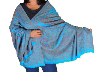 Blue Wool Embroidered Formal Shawl - Floral Warm Special Occasion Wrap 80""