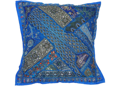 Exotic Floor Pillows : Blue Luxury Floor Pillow Cover - Decorative Artisan Made Moti Beaded Euro Sham ~ 26 Inch: NovaHaat