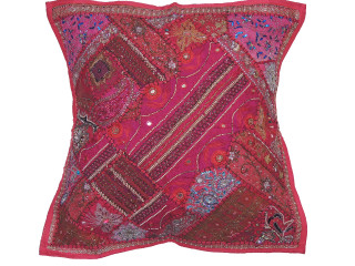 Hot Pink Luxury Floor Pillow Cover - Decorative Artisan Made Moti Beaded Euro Sham ~ 26 Inch