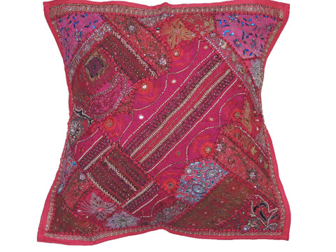 Exotic Floor Pillows : Hot Pink Luxury Floor Pillow Cover - Decorative Artisan Made Moti Beaded Euro Sham ~ 26 Inch ...