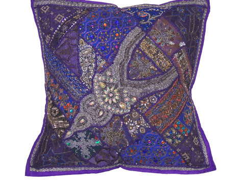 Purple Indian Inspired Floor Pillow Cover - Artisan Made Moti Beaded Luxury Euro Sham ~ 26 Inch ...