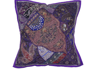 Purple Square Beaded Floor Pillow Cover - Large Unique Indian Accent Euro Sham ~ 26 Inch