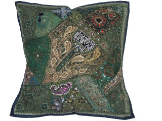 Green Square Beaded Floor Pillow Cover - Large Unique Indian Accent Euro Sham ~ 26 Inch
