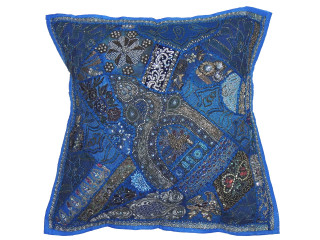 Blue Square Beaded Floor Pillow Cover - Large Unique Indian Accent Euro Sham ~ 26 Inch