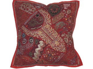 Red Square Beaded Floor Pillow Cover - Large Unique Indian Accent Euro Sham ~ 26 Inch