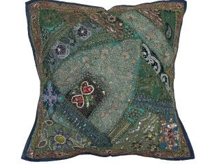 Green Indian Style Floor Pillow Cover - Square Beaded Large Accent Euro Sham ~ 26 Inch