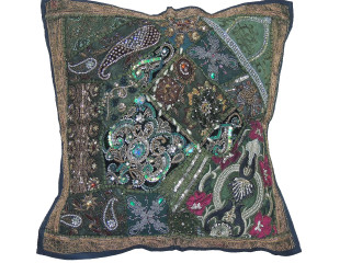 Green Decorative Floor Seating Pillow Cover - Square Beaded Sari Patchwork Euro Sham ~ 26 Inch