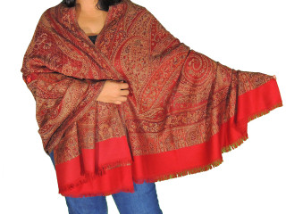 Red Embroidered Long Dressy Scarf - Jamawar Paisley Wool Kashmir Shawl Afghan 80""